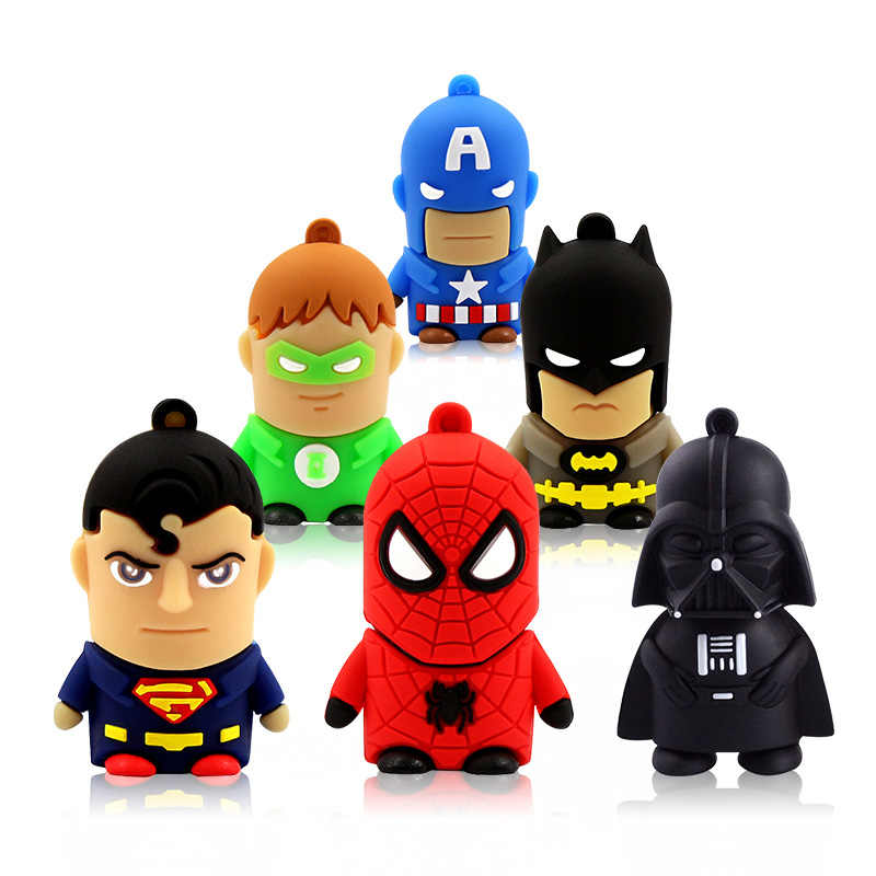USB Flash Drive 32G Lucu 64GB USB Flash Drive 4GB 8 Gb 16 GB Memori Kartu mini Pen Drive 128 GB Captain America Batman
