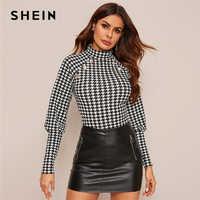Shein preto e branco botão detalhe houndstooth impressão gigot manga superior feminina primavera gola fino ajuste elegante t-shirts