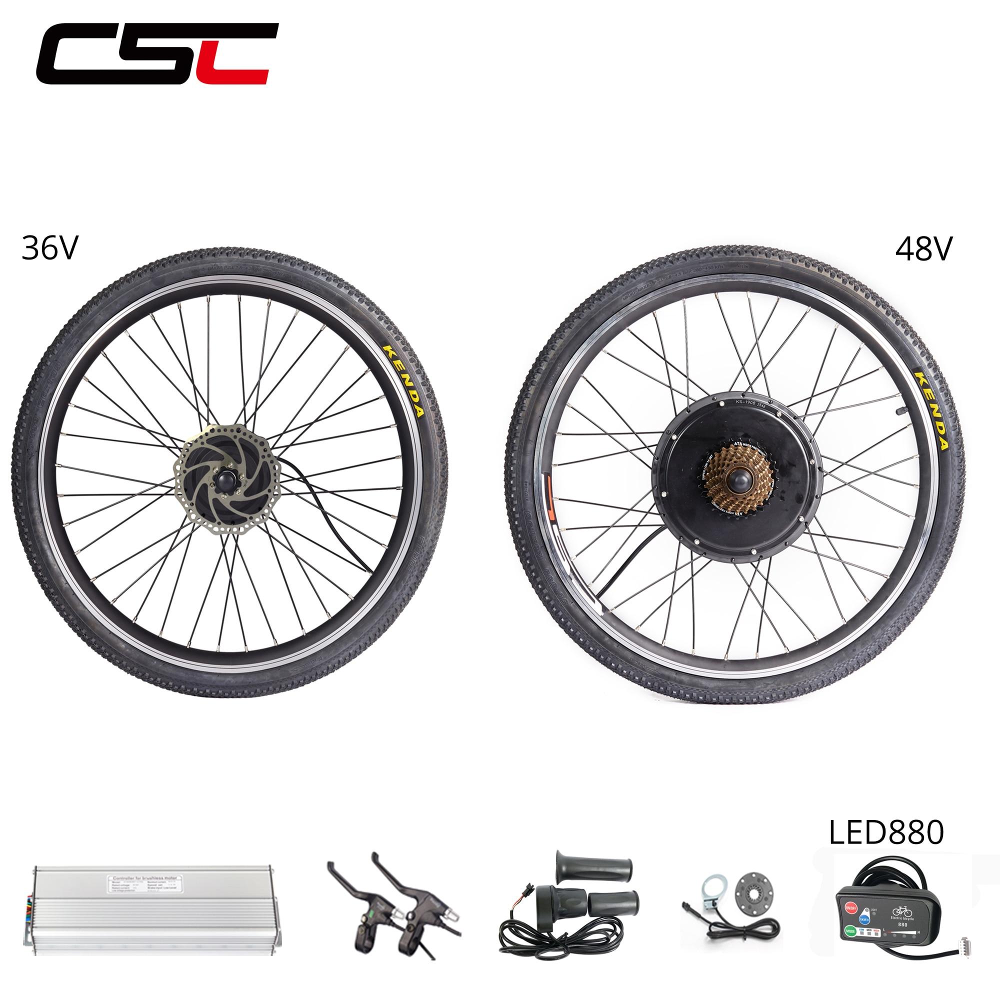 Electric Wheel Motor Kit 48V 500W 1000W 1500W LCD Regeneration Anti-Charge EBike