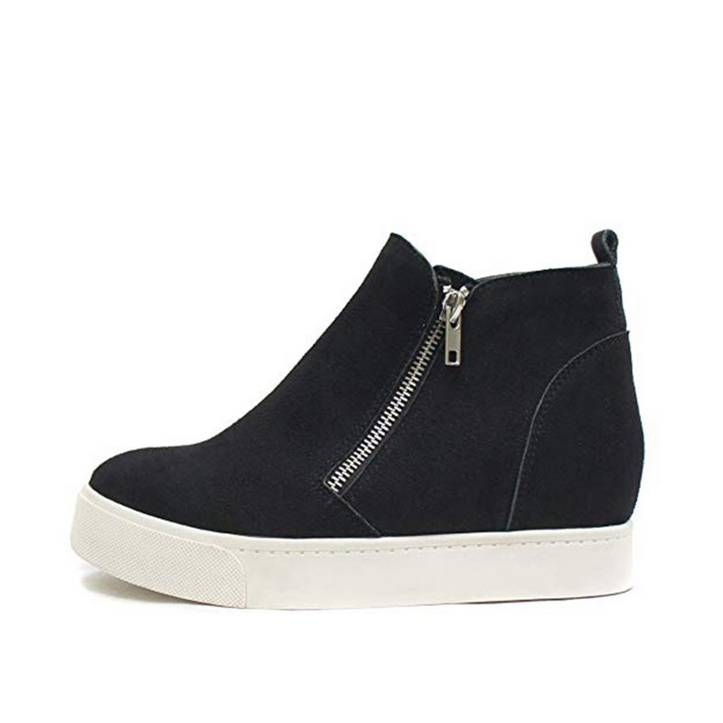 Women Fashion Casual Side Zipper Platform Shoes New Ladies PU Leather Ankle Boots Casual Comfortable Sports Shoes 2019