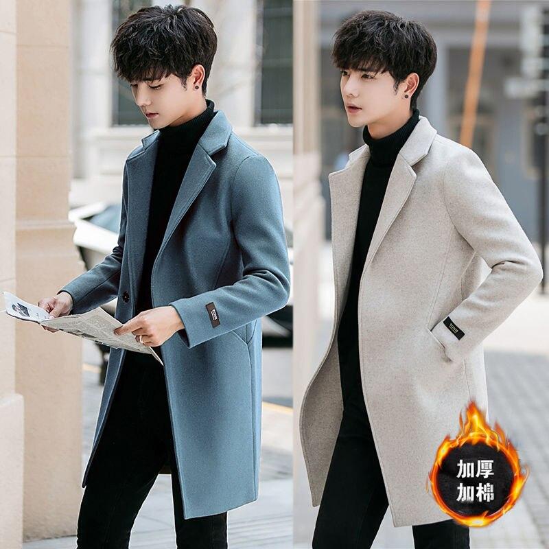 2020 plus cotton thickened Korean version of the body long windbreaker coat men's fur coat men's