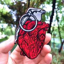 Prajna Red Heart Punk Patches Embroidered Patches For Clothing Badges Iron On Patches On Clothes T-shirt Stripes DIY Applique with rhinestones star skeleton iron on patches stripes for clothes diy embroidered patch applique badges clothing t shirt crafts
