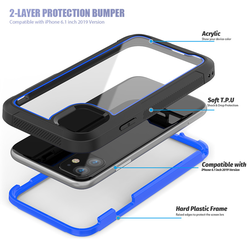 H5dde72cbc34f4b319b65f2978f7aebe9N Shockproof Armor New Phone Case For iPhone 11 Transparent hybrid TPU Cover For iPhone XR XS MAX 11 Pro Max XS 8 7Plus Clear Case