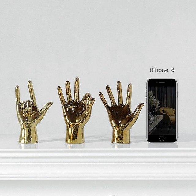 VILEAD Golden Porcelain Gesture Finger Figurines Modern Ornaments Home Room Decoration Desktop Statue Gifts 2