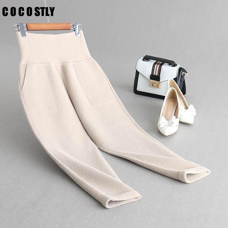 Winter Korean Female Trousers Casual High Elasitc Waist Slim Mink Cashmere Pants Women Slim Solid Color Knitting Pencil Pants