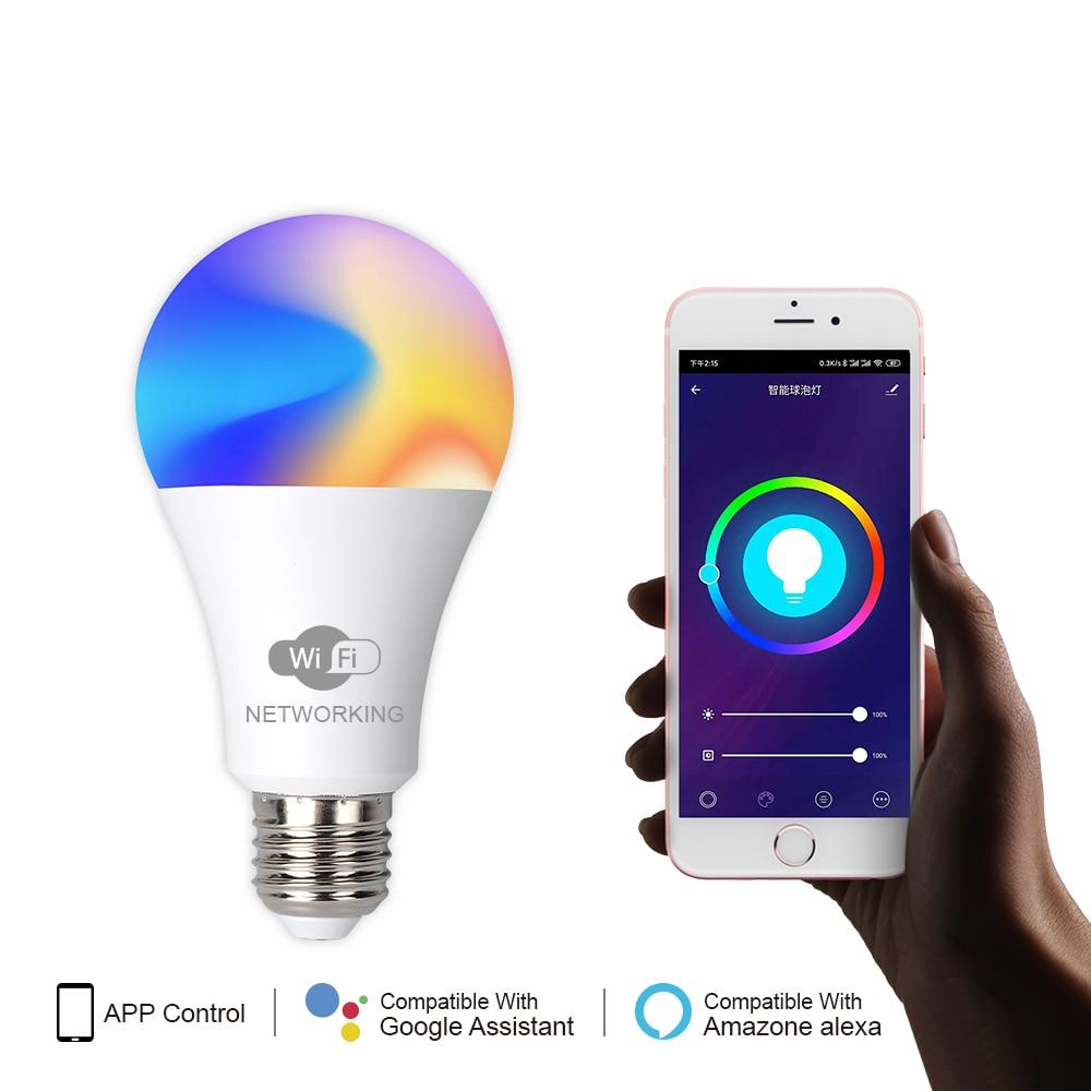 AC100-260V E27 RGB LED Bulb Lights 15W Magic LED Lamp Bluetooth Wifi APP Voice Control Smart Bulb Home Lighting