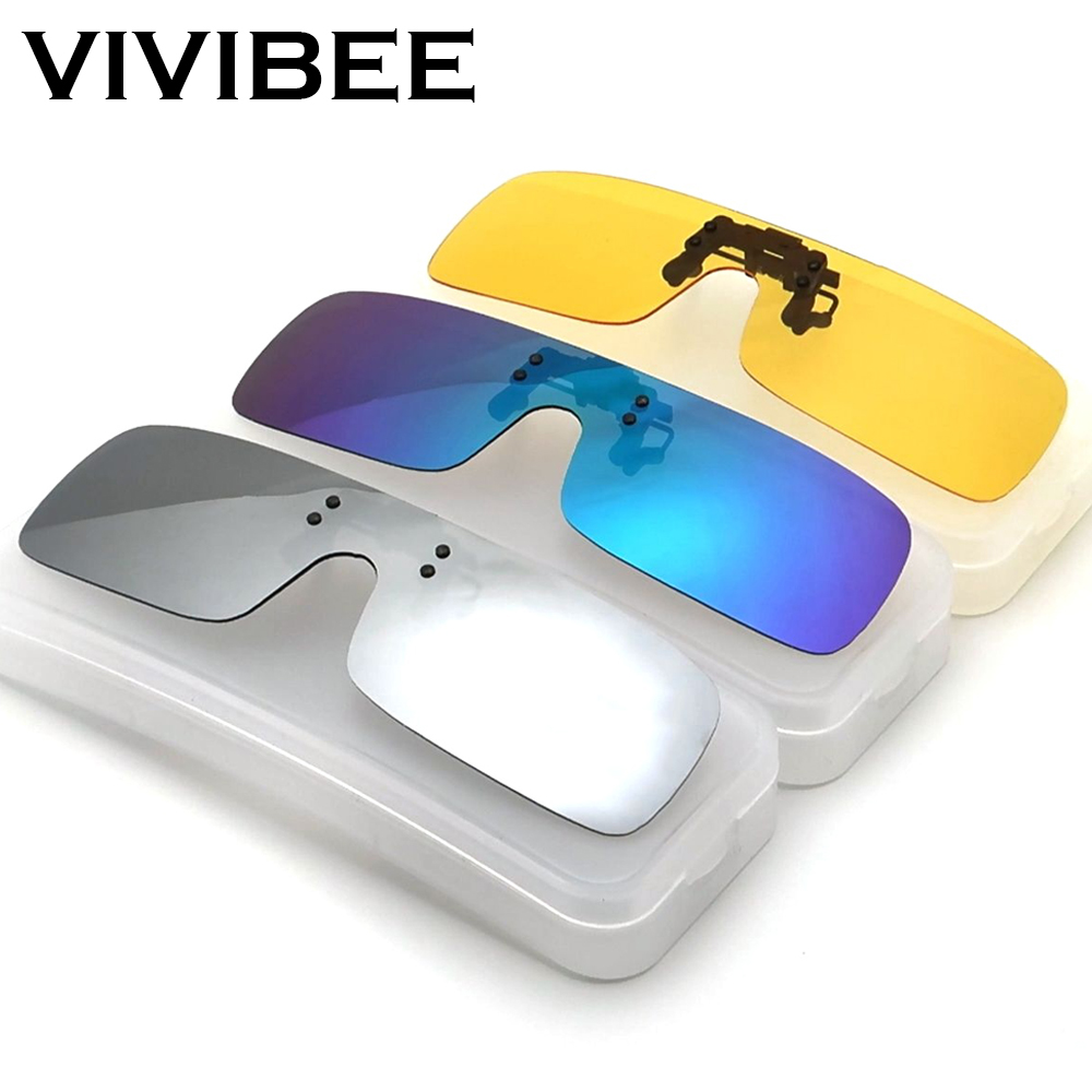 VIVIBEE Siamese Men Square Clip On Polarized Night Driving Glasses With Yellow Polarizing Women Sunglasses Clips For Myopic