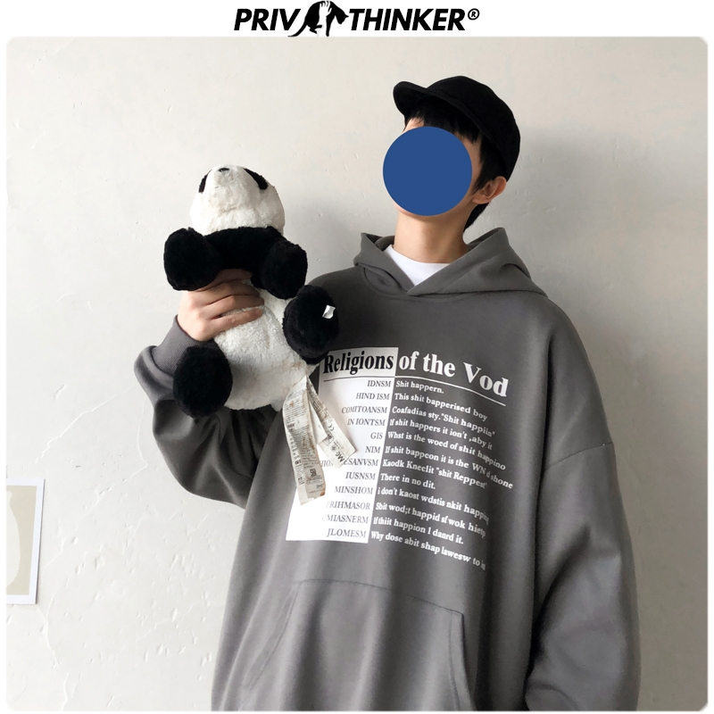 Privathinker Mens New Streetwear Printed Spring Hoodies Men Fashion Casual Hooded Sweatshirt Male Collage Pullover Clothes 2020