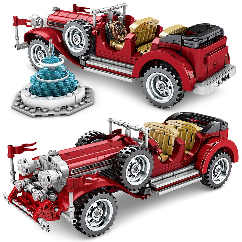 617Pcs Classic Car Building Blocks Lepining Technic Mechanical Vintage Roadster Vehicle City Models Bricks Kids Toy Gift