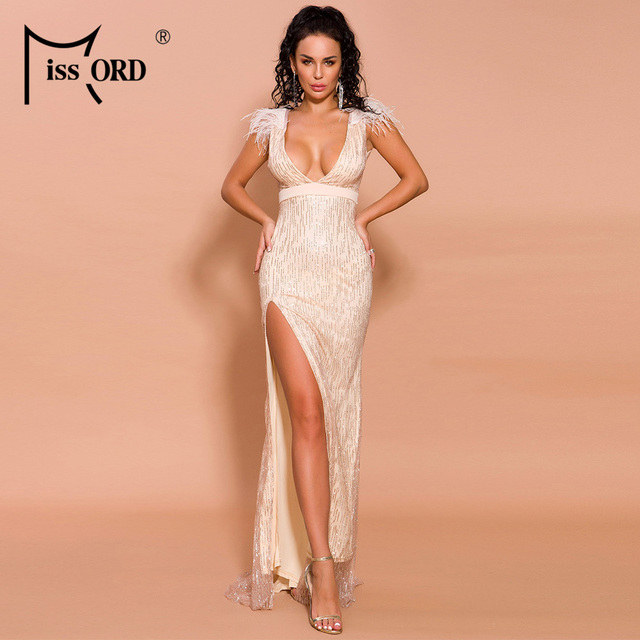 Missord 2019 Women Sexy Deep V Off Shoulder Glitter Dresses Female High Split Elegant Feather Dress FT19565 2