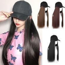 Модная женская вязаная шапка, бейсболка, парик, прямые длинные волосы, большие волнистые вьющиеся волосы для наращивания, берет для девочек, дизайн, Имитация волос