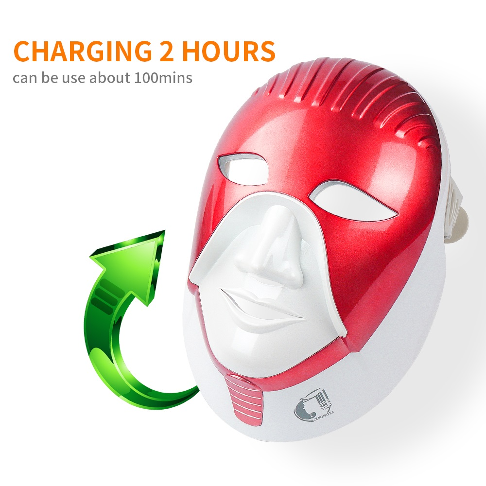 Image 3 - LED Mask Beauty Device Rechargeable 7 Colors Led Mask With Neck Skin Care Wrinkle Acne Removal Skin Rejuvenation Face Care Tool-in LED Mask from Beauty & Health