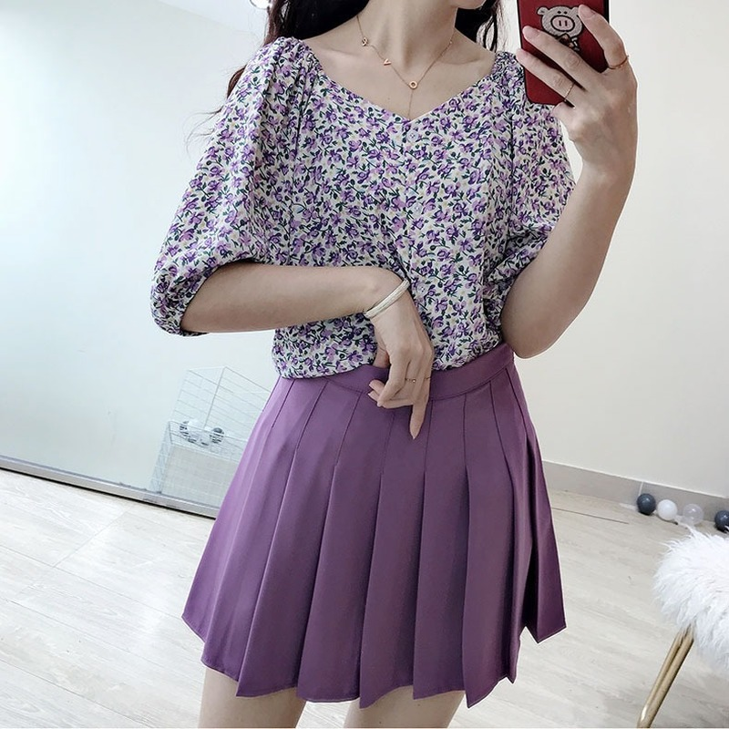 Women Preppy Style Skirt Ladies Girls Solid Pleated Cute Empire A-Line Casual Fashion Skirts