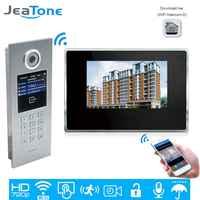 JeaTone 720P HD WiFi IP wideo telefon drzwi Intercom domu System kontroli dostępu hasło/karty RFID/iOS Android aplikacja ekran dotykowy