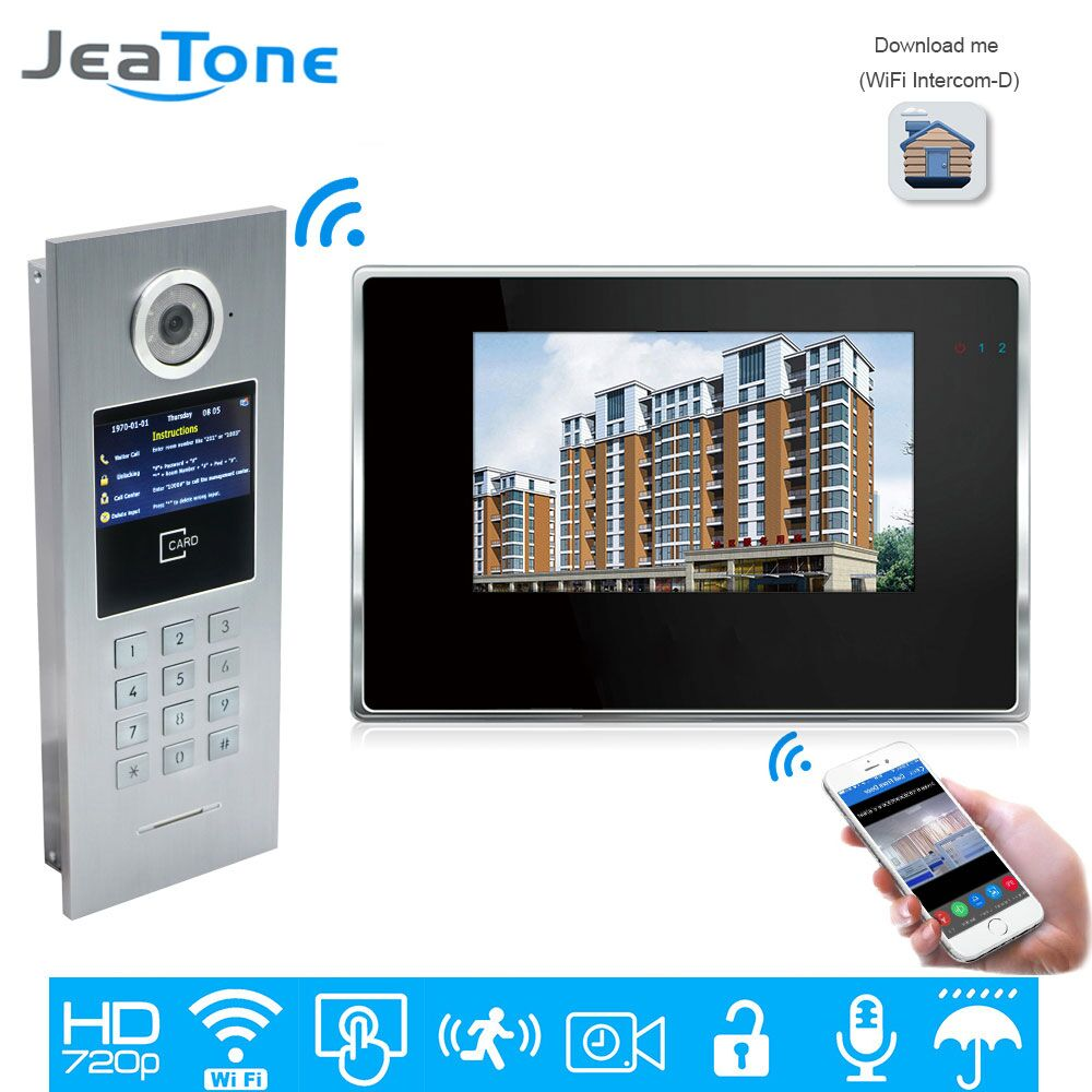 JeaTone 720P HD WiFi IP Video Door Phone Intercom Home Access Control System Password/RFID Card IOS Android APP Touch Screen