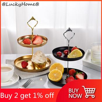 Odpinany stojak na ciasto europejski styl 2 Tier ciasto babeczki owoce płyta można wybrać tanie i dobre opinie CN (pochodzenie) STAINLESS STEEL Stałe Cheese Plates ROUND
