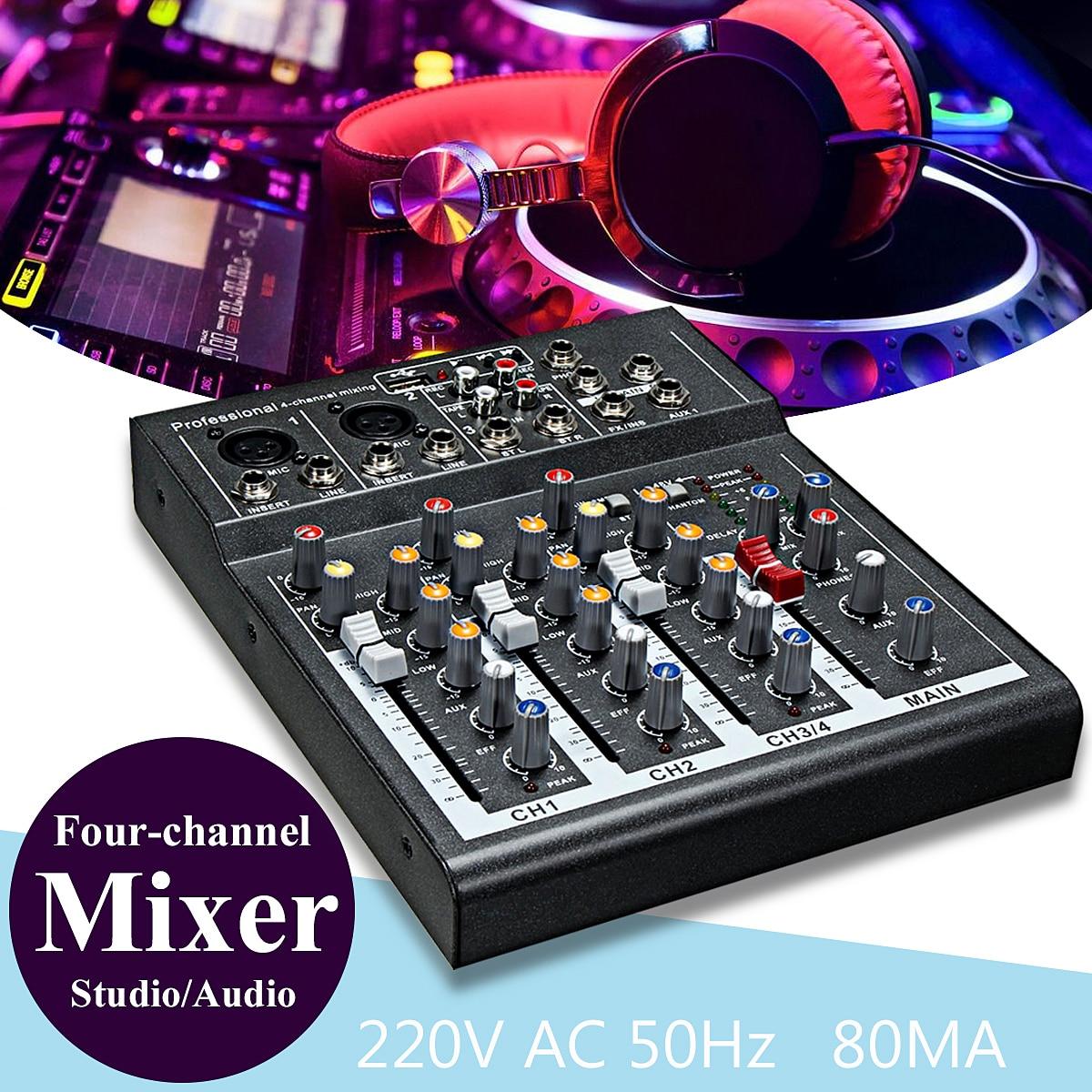 LEORY Karaoke Mixer Professionelle 4 Kanal Studio Audio Mischpult Verstärker Digital Mini Mikrofon Sound Mixer Soundkarte