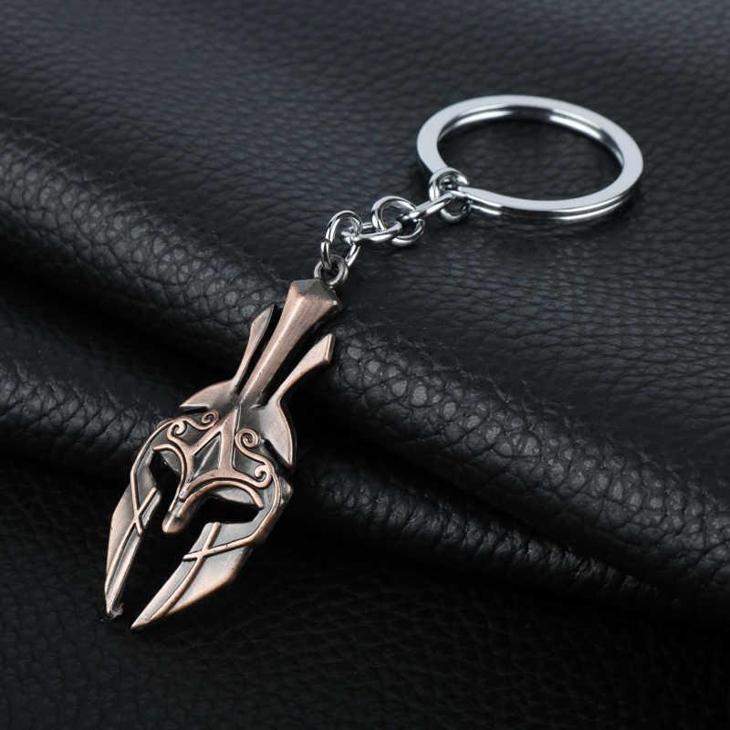 Permainan Panas Perhiasan Spartan Tombak Leonidas Masker Gantungan Kunci Pria Wanita Punk Aksesoris Logam Liontin Gantungan Kunci Perhiasan Pemegang Kunci