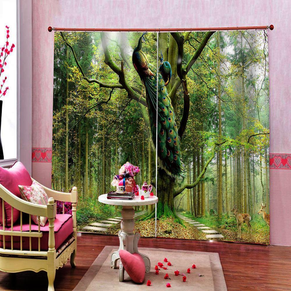 Custom Green Curtains Forest Animal bird curtain 3D Curtain Luxury Blackout Window Curtain For Living Room Blackout Drapes