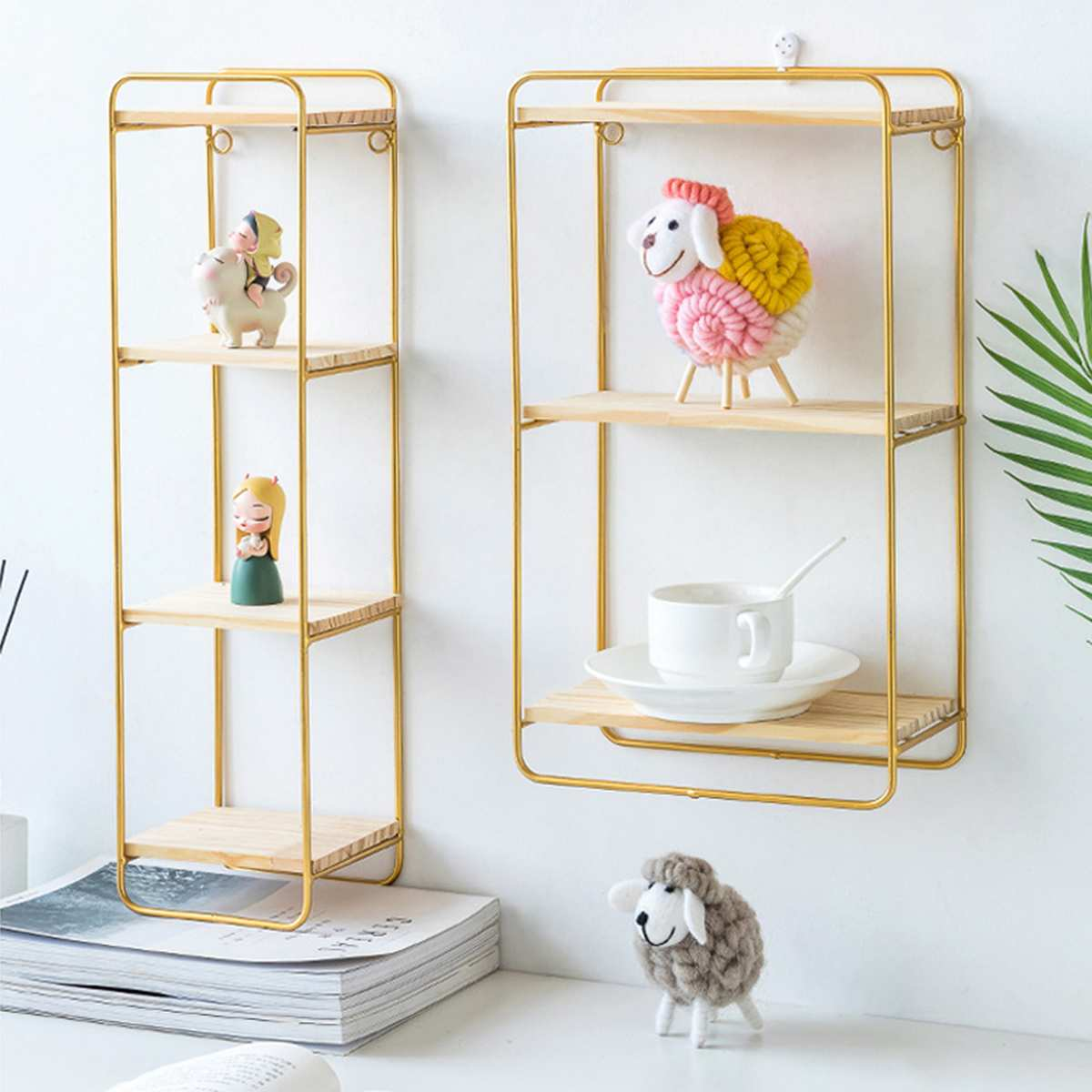 2 Colors Nordic Iron Rectangular Grid Wall Storage Rack Shelf Wall Hanging Geometric Figure Display Crafts Decorative Shelves