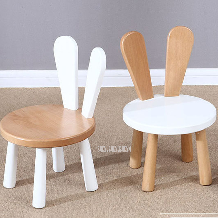 Cute Children Rabbit Back Pine Solid Wood Baby Chair Stool Table Set Kids Nursery School Student Study Kindergarten Furniture