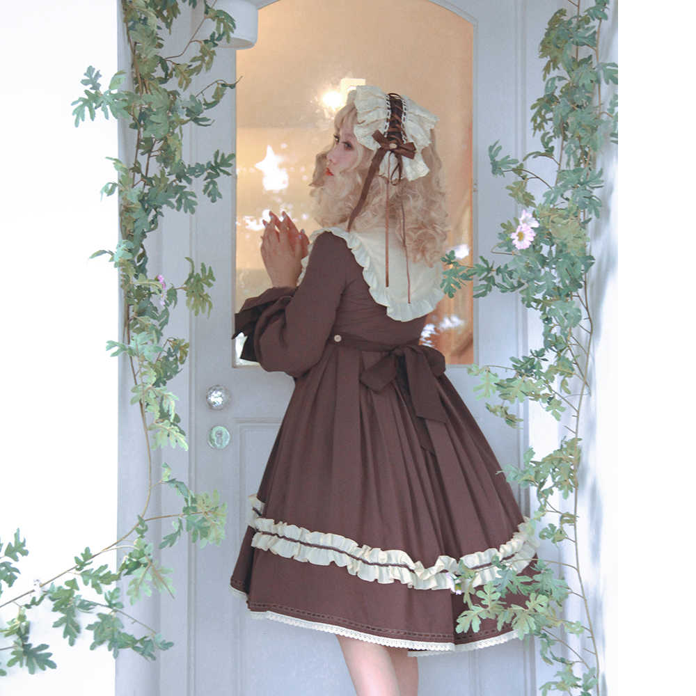 Melonshow Lolita OP Gaun Plus Ukuran Coklat Wanita Musim Panas Victoria Klasik Retro Vintage Wanita Gaun Loli Kawaii Pakaian