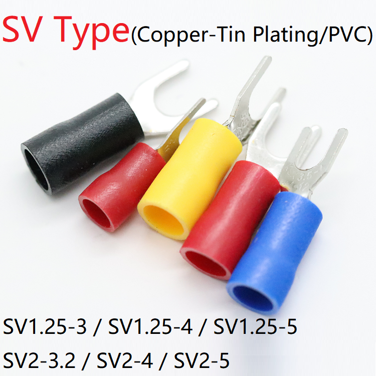 5pcs SV Type Wire Spring Terminal <font><b>SV1.25</b></font> SV2 Fork U Y PVC Insulate Ferrules Block Spade Cold Pressing Cable End Crimp Connector image
