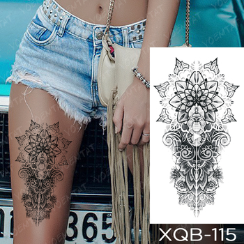 Waterproof Temporary Tattoo Sticker Snake Flower Rose Flash Tattoos Lace Fox Lion Tree Body Art Arm Fake Sleeve Tattoo Women 2
