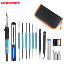 220V/110V 60w Eu Plug Adjustable Temperature Electric Soldering Iron kit Desoldering Pump Tin Wire Pliers Welding Tools Bag