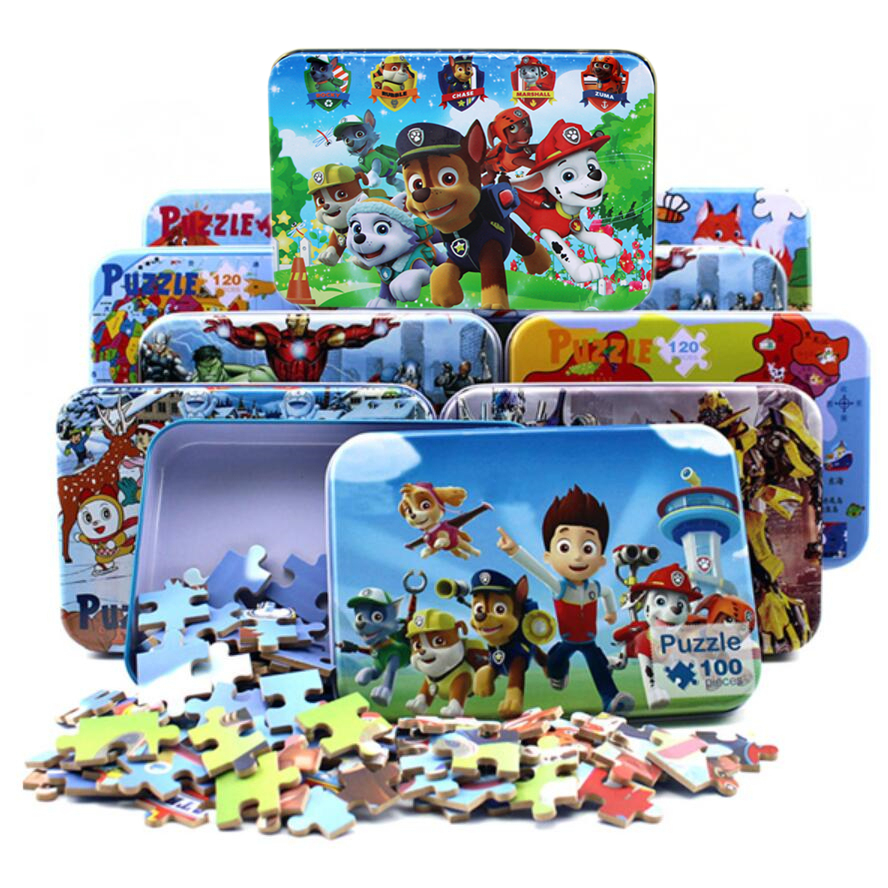 New 100 Pcs Wooden Puzzle Kids Toy Cartoon Animal Wood Jigsaw Puzzles Baby Early Brain Training Toys For Children Christmas Gift