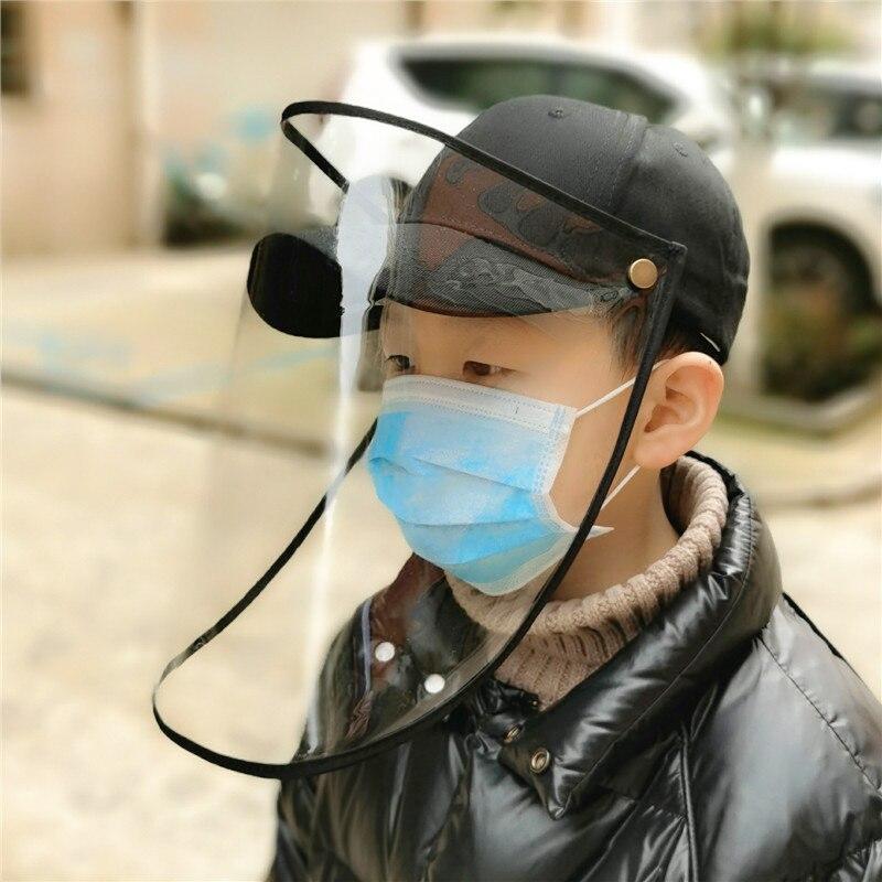 Children Kid Virus Protection Mask Cap Removable Windproof Anti-dust Anti-droplet Spittle Face Covering Bucket Hat Sun Visor Cap