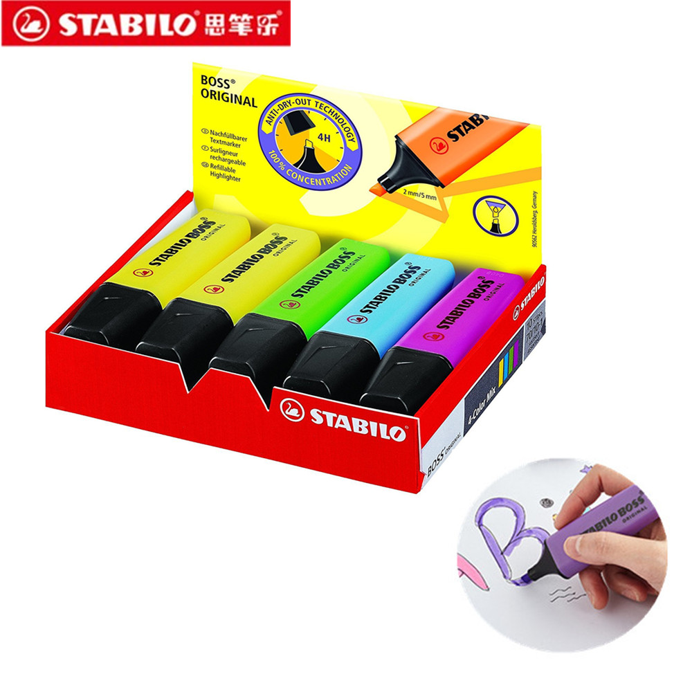1pc STABILO Fluorescent Pen Mini Colorful Candy Color Highlighters Promotional Art Markers Marker Pens Gift Stationery