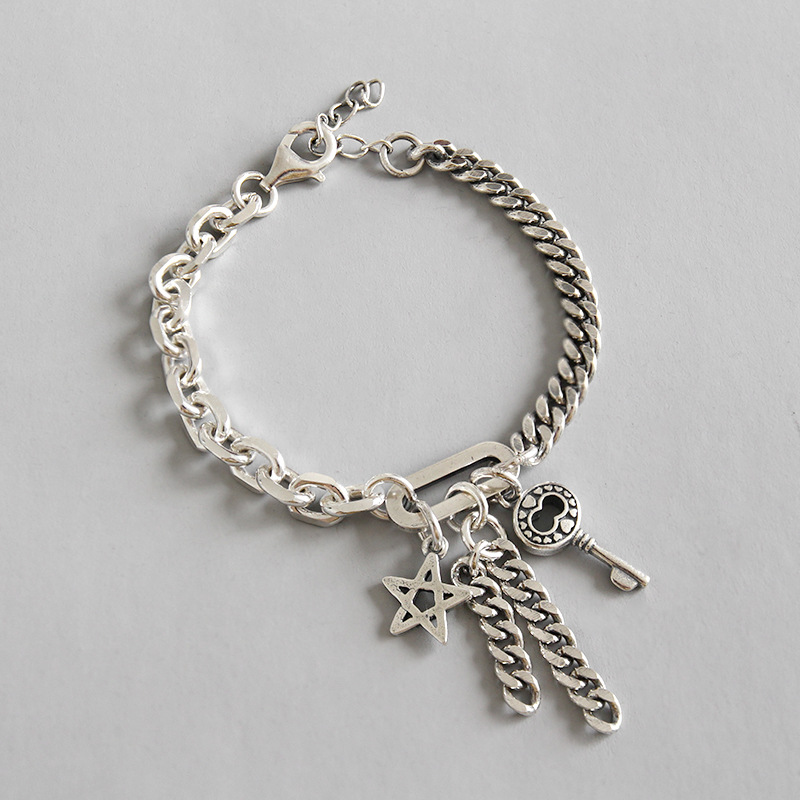 100% S925 sterling silver Vintage Handmade Luck Chain Key Star Charm Bracelet Bangle Chain Ethnic Tribal Bohemian Woman Gift