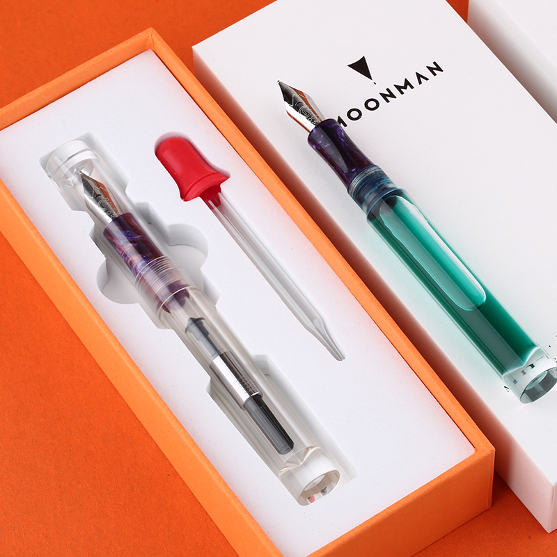 Moonman Transparent Pen Demonstration Fountain Pen Fine Nib Large-Capacity Ink Storing Ink Pens with Dropper and Original Box