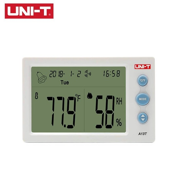UNI T A13T Digital LCD Thermometer Hygrometer Weather Station Instrument Room Temperature Humidity Meter Alarm Clock