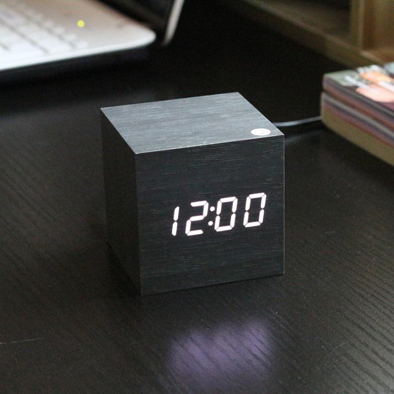Bambus și lemn pătrat ceas din lemn creativ Mini LED din lemn - Decoratiune interioara