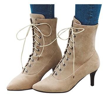Buty damskie Sexy sznurowane buty damskie klasyczne szpiczasty nosek buty na wysokim obcasie skórzane damskie buty środkowe buty na wysokim obcasie #1019 tanie i dobre opinie SAGACE Połowy łydki Płytkie Stałe fashion Okrągły Obcasy Podstawowe Płótno Peep toe Wiosna jesień RUBBER Wysoka (5 cm-8 cm)