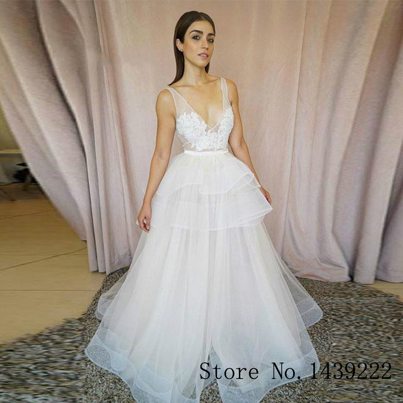 Sofuge Tiered Aline Bohe Tulle Wedding Dresses Appliques V Neck Court Train Pleat Vestidos De Noivas Custom Made