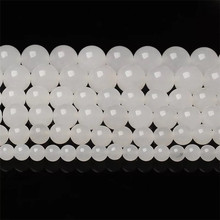 New white chalcedony loose beads DIY handmade jewelry accessories Bracelet necklace making semi-finished products wholesale