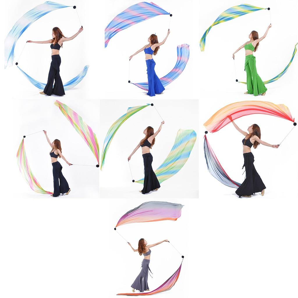 Danza del ventre Velo Di Seta Poi Coperte E Plaid Palle 206x70 centimetri di Pancia Ballerino Stage Puntelli di Prestazione di danza del Ventre Accessorio del Costume
