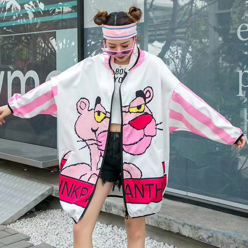 Tide Brand 2020 Spring And Summer New Ladies Cartoon Pink Leopard Print Age Reduction Loose Large Size Thin Coat Wild Models