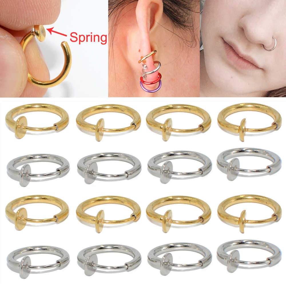 1PC Surgical Steel Fake Spring Earring Labret Lip Ring Nose Ring Clip On Ear Nose Helix Ring Ear Ring Body Piercing Jewelry