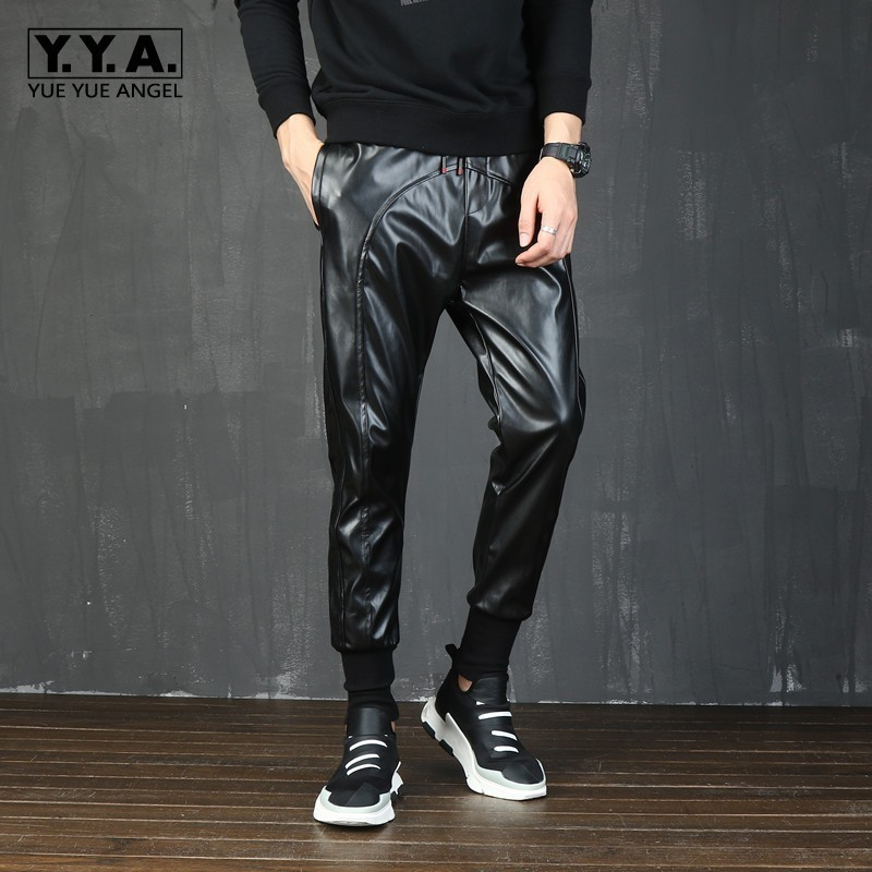 Korean Mens Motorcycle Patchwork Faux Leather Harem Pants Drawstring Elastic Waist Plus Size Male Jogging Trousers Streetwear