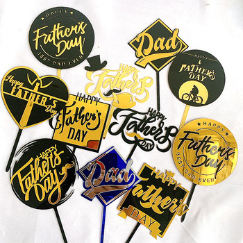 цена Cake Decoration Double Layer Acrylic Happy Father's Day Cake Toppers Dad Birthday Cake Dessert Father`s Day Party Accessories онлайн в 2017 году