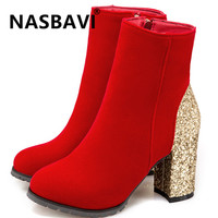 NASBVAI 2019 New Bling Bling Upper Ladies Ankle Boots Sequined Fashion Zipper Thick High Heels Winter Boots Gold Women boot