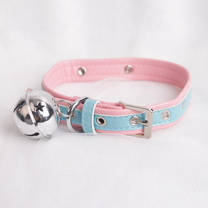 Sexy Cute Choker Leash Chain Pink Blue Harajuku Handmade Gothic Punk Leather Necklace with Bells Sex Toys for Couple Collar(China)