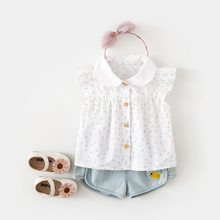 Girl'S Shirt Summer 2019 New Style 0-1-Year-Old Infants Korean-style Western Style Clothes Baby Girls Floral Shirt 3(China)