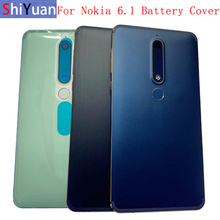Original Back Battery Cover Rear Door Panel Housing with Fingerprint For Nokia 6.1 Battery Cover with Camera Lens  Part