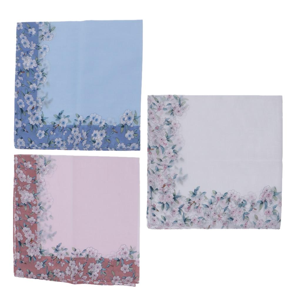 3 шт., розовые, синие, белые женские носовые платки, Цветочный платок с принтом, мягкие носовые платки, свадебные носовые платки, 43X43 см