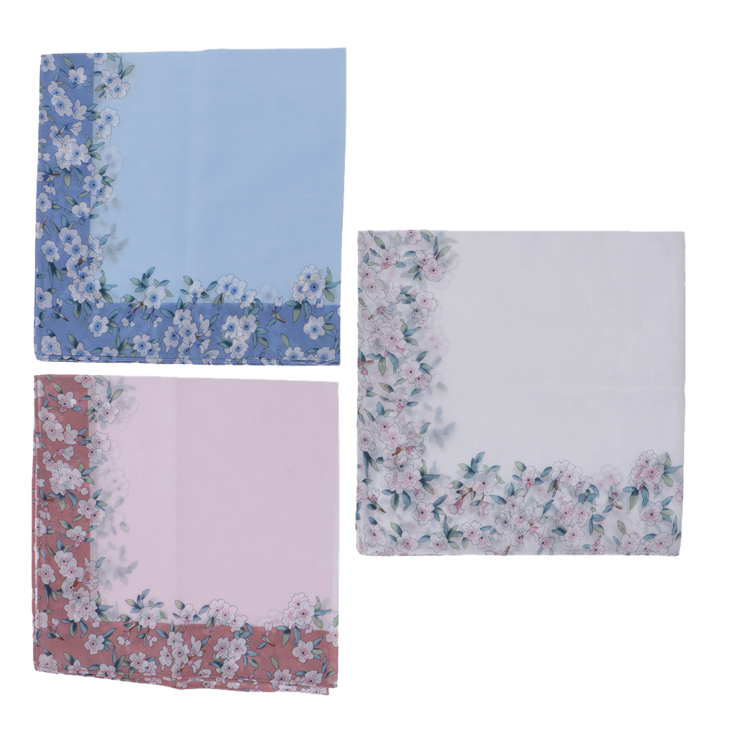 3pc Pink Blue White Handkerchiefs Women Flower Printed Hanky Soft Kerchiefs Wedding Party Hankie 43X43cm Ladies Handkerchief